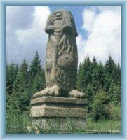 Statue of sprite at the saddle Skřítek