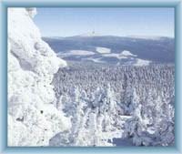 Sight of mountain Praděd from mountain Vozka