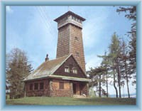 Chalet with view-tower on the top of mountain Lázek