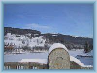 The Labská dam in winter