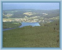 Frymburk and dam lake Lipno from Vítkův kámen