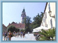 Sight of chateau-tower in Český Krumlov